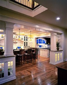 Columns/half wall between family room and kitchen in my dream home Style At Home, Home Renovation, Home Remodeling, Houses Architecture, Amazing Architecture, Villa Plan, Home Living, Living Spaces, Humble Abode