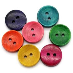6 Round Wooden Frog Family design Buttons 15mm Sewing  Crafts Free UK P/&P