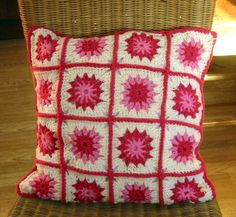 Pink Posy Floral Granny Square Crochet Cushion by Thesunroomuk