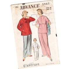 Advance 5985 - mandarin collar top, wide leg trousers and diagonal pockets