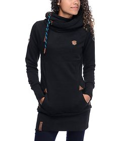 Now you can be cozy and trendy with the Lange IX long black hoodie for girls complete with Naketano's signature durability and luxurious detailing for a design that you are sure to love. This long fit hoodie has a heavy fleece construction for warmth, a l