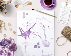 By Lef graphics on Etsy Watercolor clipart splatter splashes (40) purple lilac amethyst violet. hand painted photo overlays graphics blogs cards printables wall art by ByLef