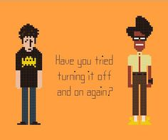 The IT Crowd Cross Stitch Chart Pattern with Roy and Moss.