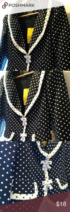 Luisa Spagnoli Jacket Women's black and white polka dot jacket by Luisa Spagnoli; buttoned front with mock front pockets. European size 42, US Size: 12/L Luisa Spagnoli Jackets & Coats Blazers