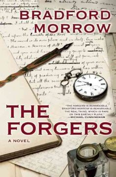 The forgers by Bradford Morrow.  Click the cover image to check out or request the literary fiction kindle.