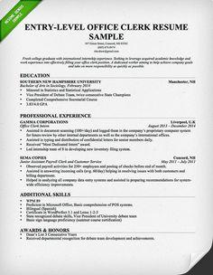 Office Clerk Resume Samples | Entry Level Office Clerk Resume Sample |  Resume Genius