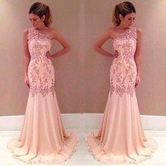 Online Shop vestido de fest 2015 Long Prom Dresses One Shoulder Mermaid Lace Appliques Beaded Floor Length Chiffon Prom Dresses Evening Gown Aliexpress Mobile