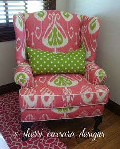 A joyful room Chair Upholstery, Upholstered Furniture, Sofa Chair, Wingback Chairs, Ikat Fabric, Little Girl Rooms, Outdoor Fabric, Home Bedroom, Kids Furniture