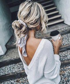 it - Flechtfrisuren - braided Hair - Haare - Frisur Ideen Scarf Hairstyles, Summer Hairstyles, Pretty Hairstyles, Casual Hairstyles For Long Hair, Messy Bun Hairstyles, Updo Hairstyle, Hairstyle Ideas, Hairstyles With Headbands, Casual Hair Updos