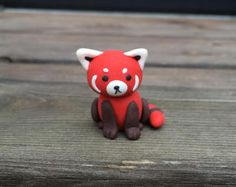 Adorable Little Red Panda Handmade with Polymer Clay