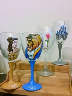Set of 4 Hand Painted Wine Glasses : Your choice of characters by DrawingsByBOBA Decorated Wine Glasses, White Wine Glasses, Hand Painted Wine Glasses, Cup Crafts, Bottle Crafts, Beauty And The Beast Wedding Cake, Disney Art, Beautiful Pictures, Miguel Angel