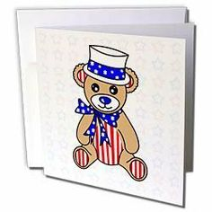 Janna Salak Designs Teddy Bears - Patriotic Cute America Teddy Bear Red White and Blue - Greeting Cards-12 Greeting Cards with envelopes by Janna Salak Designs. $15.95. Patriotic Cute America Teddy Bear Red White and Blue Greeting Card is measuring 5.5w x 5.5h. Greeting Cards are sold in sets of 6 or 12. Give these fun cards to your friends and family as gift cards, thank you notes, invitations or for any other occasion. Greeting Cards are blank inside and come with whit...