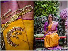 South Indian bride.Gold Indian bridal jewelry.Temple jewelry. Jhumkis. Mustard yellow and purple silk kanchipuram sari.Side braid with fresh flowers. Tamil bride. Telugu bride. Kannada bride. Hindu bride. Malayalee bride.Kerala bride.South Indian wedding