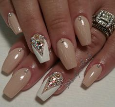 White neutral nude Notd ombre heart pastel nails summer orange flower coral crystals rose gold stiletto acrylic Swarovski
