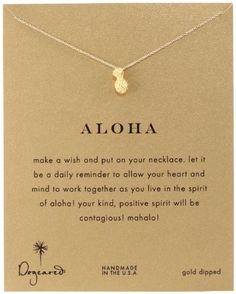 """Dogeared Reminder """"Aloha"""" Gold-Plated Silver Pineapple Pe..."""