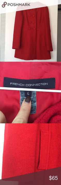 French connection red wool coat Size 4 in good used condition. So many compliments on this jacket and great to wear for holidays. Some wear on inside lining that could be fixed. Please see photos. No issues with outer side of coat. French Connection Jackets & Coats