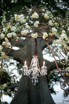 crystal chandelier hanging in the garden