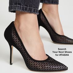 Featuring a black mesh upper with velvet accents and a stiletto heel, these Stuart Weitzman pumps are a sophisticated pair you can always count on for dressed-up looks. Black Shoes With Jeans, High End Shoes, High Heels, Highland Boots, Next Shoes, Popular Shoes, Cool Boots, Stuart Weitzman, Stiletto Heels