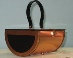 Rare  documented in Dooner's Handbags as rare -- COPPER and black lucite purse handbag - not marked