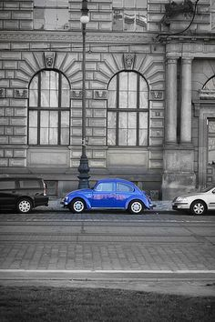 Blue car, Volkswagen Beetle, Prague
