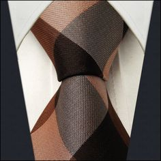 Checked Chocolate Caramel Camel Mens Neckties Ties 100% Silk Jacquard Woven Ties For Men Men Ties Designers Fashion Ties For Men-inTies from...