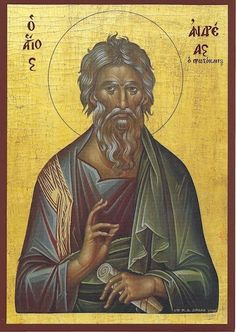 Andrew the Apostle icon Religious Images, Religious Icons, Religious Art, Byzantine Icons, Byzantine Art, Christ In Greek, Andrew The Apostle, Orthodox Catholic, Roman Church