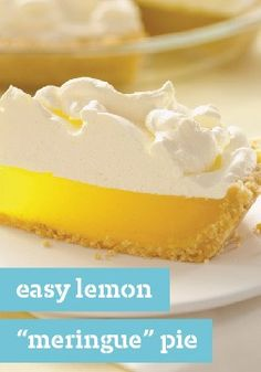 """Easy Lemon """"Meringue"""" Pie – It's not exactly a lemon meringue pie. Rather, it's a luscious lemon pie with a cookie crust and a yummy, easy-to-make marshmallow-COOL WHIP topping."""