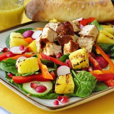 Happy National Salad Month! We will be featuring some of our favorites and some new salad recipes during May and we're starting with this beauty. Smoked Chicken, Spinach, Grilled Pineapple and Pomegranate Salad - juicy smoked chicken chunks combine with spinach and other vegetables, sweet grilled pineapple and tangy pomegranate seeds. A simple homemade lemon dijon dressing completed this balanced, nutritious, colorful, flavorful and oh so satisfying dinner salad.