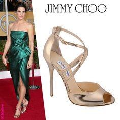 a2127dc5ce2 Sandra Bullock-Jimmy Choo Valetta Metallic Sandal  Celebrity  Shoe  Style  Ugg Snow