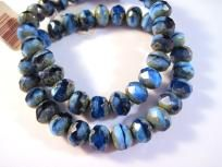 6x8 Glass Roundel Czech Shades of Blue 10 Beads $3.50