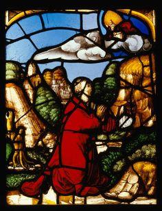 Réunion des Musées Nationaux-Grand Palais - Musée d'Ecouen, vitraux - L'une des 4 scènes de l'Histoire de saint Lié: Le miracle de la source. E.CL.1010a, 1526. Hôtel-Dieu (Provins) anciennement.