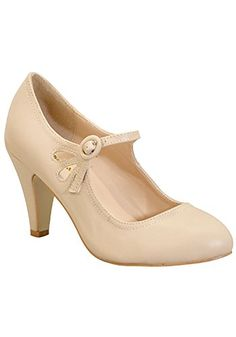 VogueZone009 Womens Closed Round Toe Kitten Heels PU Frosted Mary ...