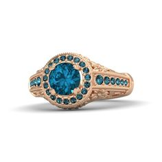 Round London Blue Topaz + Rose Gold Ring