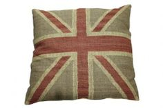 Union Jack Beige Cushion. A Block and Chisel Product.