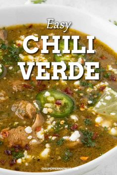 Pork Chile Verde Authentic Mexican chili verde is savory, spicy and earthy from a poblano, jalapeno tomatillo sauce. Made on the stove top, in a crockpot or instant pot. Authentic Mexican Recipes, Healthy Mexican Recipes, Mexican Breakfast Recipes, Mexican Dishes, Chili Recipes, Pork Recipes, Crockpot Recipes, Cooking Recipes, Mexican Chili