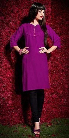 Perfect Purple Cotton Kurti.
