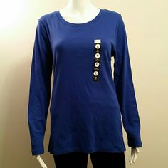 NWT Style&Co Long Sleeve Blue Cotton Tee Size L NWT Style&Co Long Sleeve Blue 100% Cotton Tee Size L Style & Co Tops Tees - Long Sleeve