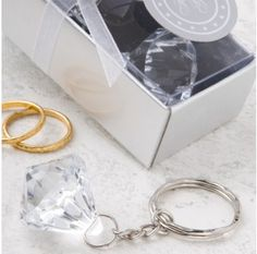Clear Diamond Collection Diamond Design Key Chain #bridalshowerfavors
