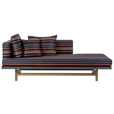 Aragon Chaise Lounge with White Oak Legs and Striped Wool