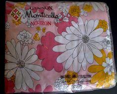 Cannon Monticello Full Fitted Bottom Sheet Blossom Festival Mod Pink Orange NOS | eBay