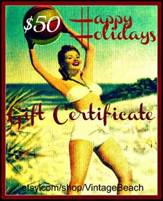 Photography Gift Certificate  Beach Lover Gift  by VintageBeach, $50.00