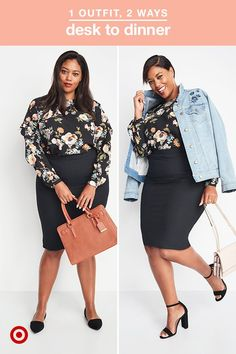 Take notes: this outfit will take you from your desk at work to a dinner date in five minutes, flat! The pencil skirt has a built-in mesh panel that smooths out your look and this floral shirt is perfectly on-trend for fall. Wear them during the day with velvet flats, then swap your shoes for block heels when you're ready to catch your reservation. Throw on a denim jacket for all the cool girl points you could ever ask for.