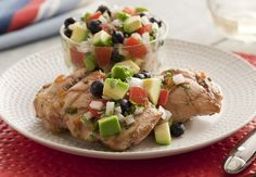 Grilled Chicken with California Avocado Red, White and Blueberry Salsa Recipe Diabetic Recipes, Diet Recipes, Cooking Recipes, Healthy Recipes, Yummy Recipes, Recipies, Blueberry Salsa Recipe, Avocado Salad Recipes, Fruit Salsa