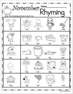 Free printable rhymes rhyming words worksheets for preschool . Free printable rhymes rhyming words worksheets for preschool . Rhyming Worksheet, Rhyming Activities, Preschool Worksheets, Printable Worksheets, Free Printable, Printables, Holiday Activities, Free Worksheets, Free Activities