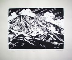 The West Face Mount Shasta, a lino block print of storm clouds brewing above Hidden Valley. This is one of my favorite prints ever. Print Making, Linocut, Mountain Paintings, Art, Print Artist, Lino Art, Printmaking Art, Prints, Muse Art