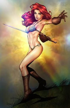 Red Sonja by Randy Green, colours by ~jam-bad *