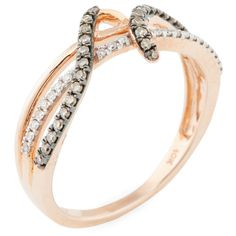 Aaraa Rose Gold & Diamond Flourish Ring ($200) ❤ liked on Polyvore featuring jewelry, rings, no color, diamond jewelry, brown diamond ring, rose gold band ring, band rings and rose gold jewelry