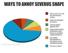 Those all things Harry did! So you just have to be Harry Potter to annoy Snape. Slytherin, Hogwarts, Severus Hermione, Severus Rogue, Snape Harry, Harry Potter Humor, Harry Potter Spells List, Harry Potter Stories, Harry Potter Facts