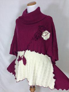 Plus Size Tunic Handmade Asymmetric Knitting by DesignByNatalia, $63.00