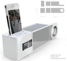 Moving Moving is a unique concept that marries a docking station with a mini portable projector. The idea is to play songs as well as movies and videos on the go.
